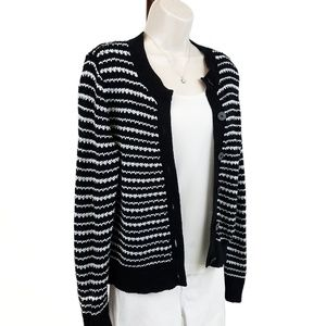 Pendleton cardigan stripes black & white